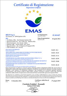 Certificazione EMAS DECO S.p.A.